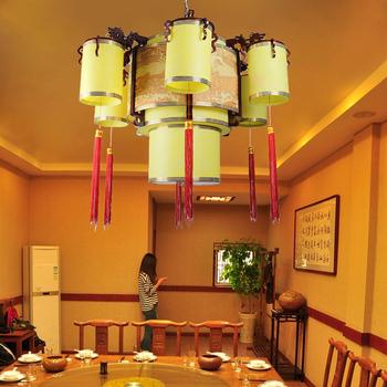 Chinese style pendant light antique wooden pendant light traditional chinese painting large pendant light sheepskin lamp