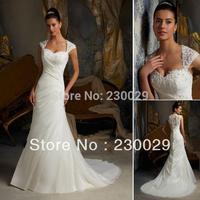 Free Shipping Mermaid Court Train Sweetheart Lace Cap Sleeves Pleated 2014 Cheap Wedding Dress Long Bridal Gown BU032