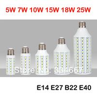 Free Shipping 10pcs/lot 5W 7W 10W 15W 25W 30W B22 AC100-240V SMD 5050 LED 100LM/W LED Corn Bulb Spot Lamp