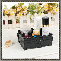 New Arrival Free Shipping Retro Vintage Butterfly Rose Make Up Case Jewelries Storage Box AS001 S Size 17.5x12x7.5cm Black/Clear
