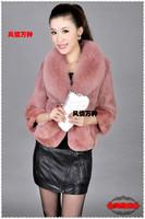 free shipping  women's rabbit fur outerwear fox large fur collar short slim female fur design faux fur coat