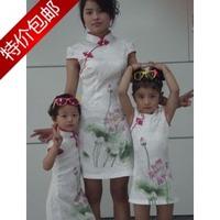 Parent-child cheongsam clothes for mother and daughter cheongsam dress summer short-sleeve cheongsam skirt female