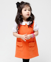 New Arrived Autumn Girls Dress Sleevless O-neck Tank/Vest One-piece Dresses for girl Children Clothing Kids Clothes
