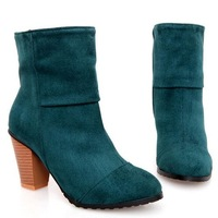 2013 New women fashion Martin Boots  winter fashion all-match boots brief high elastic velvet boots thick heel plus size boots