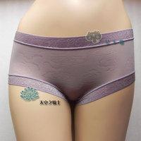 Free shipping Female panties ultra-thin silk protein women's mid waist slim hip panties 8 m-l