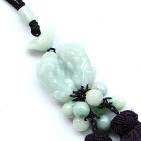 N1765 bold light green jade pendant A cargo of natural jade pendant jade pendant brave ingot ornaments with certificate