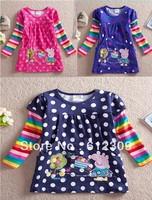 Girls Peppa Pig T Shirt Children 100% cotton tops Kids Dot Rainbow Long Sleeve T shirt wholesale 5pcs/lot Free Shipping