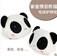 Car plush neck pillow A Pair cartoon panda headrest neck pillow car care pillow car headrest seat headrest free shipping
