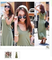 hot sale Free shipping summer sexy women clothing 5599 sleeveless with a hood ultra long full Casual dress 2
