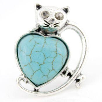 Turquoise antique silver animal kitten cat ring adjustable ,