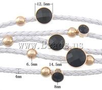 Free shipping!!!PU Cord Bracelets,Lucky Jewelry, with Acryl stainless steel magnetic clasp, 5-strand, white, 14.5x14.5x12mm