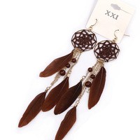 Fashion women's accessories bohemia style feather beaded tassel chain drop earring earrings for women woman 2013