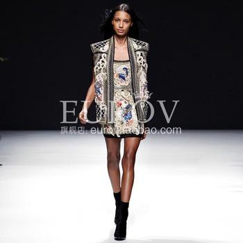 Fashion royal eurov2013 wind beading warfactory cross stitch flower tube top one-piece dress motorcycle jacket