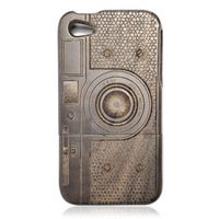 Luxury New Genuine Real natural Camera M1 bamboo wood wooden case cover for iPhone 4/4S black walnut,free shipping