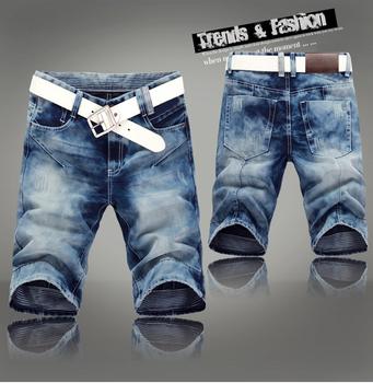 ,  2013 fashion brand designer men's denim jeans shorts pants.Light blue denim ...