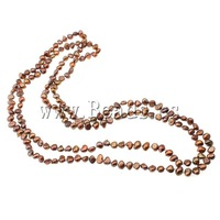 Free shipping!!!Natural Freshwater Pearl Necklace,Women Jewelry, Cultured Freshwater Pearl, brown, 5-7.5mm, Length:46 Inch