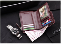New ! Business Fashion Black Men Card Wallet 100% Cowhide Genuine Designer Leather Wallet With a Retail Gift Box Free Shipping
