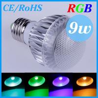 E27 RGB LED Lamp 9W RGB Bulb Spotlight 16 Colors Magic Changing AC85-265V CE/RoHS with Remote,Free Shipping