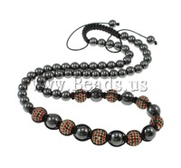 Free shipping!!!Shamballa Necklace,2013 Fashion Jewelry, Zinc Alloy, with Wax Cord & Non-magnetic Hematite, gold color plated