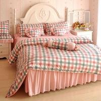 free shipping Cotton 100% cotton rustic princess red plaid piece set duvet cover bedding