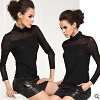 Free shipping,New arrival basic shirt, Fritteringthe hot-selling basic shirt ,Turtleneck t-shirt, Nets yam lace t-shirt