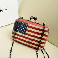 2014 Real Mini(<20cm) Hasp New Design American Flag Bag with Chain Small British Mini Women's Cross-body Handbag Free Shipping