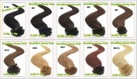 #60 Platinum Blonde color MOQ 50g  100 strands  Keratin Nail/U tip hair extension Good quality AAAA 100% Remy hair