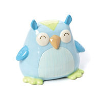 Gift ceramic derlook piggy bank piggy bank blue owl