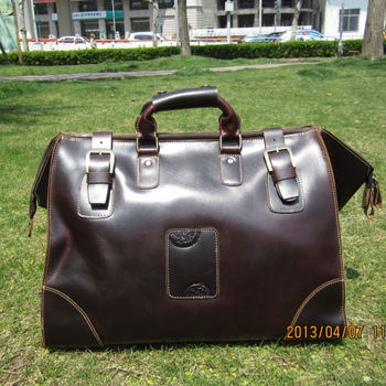 Fashion genuine leather vintage crazy horse leather handbag travel bag luggage travel bag handmade Women cowhide male big bags