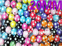 Free Shipping!!Wholesale 20MM Fashion Resin Polka Dots Beads For Chunky Jewelry,Wholesale Mixed Color Round Acrylic Beads!!