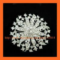 Free Shipping ! 100pcs 55mm Flower Silver Rhinestone Brooch Pins
