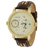 Original luxury Korea brand Authentic creative fashion retro and classic JULIUS Men's Watch with dual time good quality