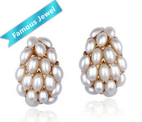 W.Life(Janos) brand Top-quality lady's 18kgp pearl ear stud earrings jewelry lead-free No nickel No cadmium Free Shipping