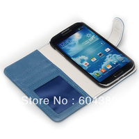Free shipping 300pcs  dark blue wallet leather case for Samsung Galaxy S IV i9500 with visa holder