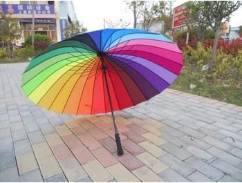 Top Quality Fahsion Long handle rainbow Straight umbrella rain umbrellas paraso Citymoon 24k free shipping retail