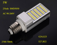 LED Plug lampada LED PLC light LED corn light  5W,AC 9-260V 25leds SMD5050 G23,E27,B22 Free shipping