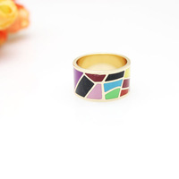Free Shipping! Multicolor Trapezoidal Rose Gold Plated Enamel Jewelry Ring, 1 pc/pack