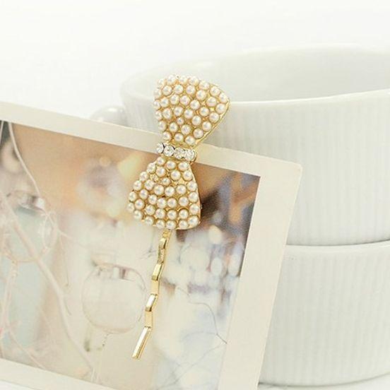 Wholesale jeweled hair pins pearl bride hair pins wholesale, bow hair pin, 12 pieces / lot free shipping(China (Mainland))