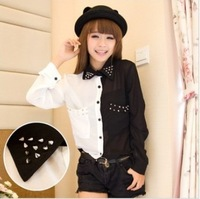 2013 Fashion Black With White Patchwork Rivet Chiffon Shirts For Women Vintage Long-sleeve Blouses Leasure Tops Tees TS-036