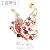 High Quality Korea Jewellery Crystal Butterfly  Brooch Pin  Women  Dress Shawl Decoration Buckle 5pcs/lot  Free Shipping!