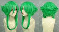 Cos green short straight cosplay WIG +gift