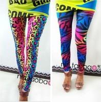 EAST KNITTING LG-005 2014 FASHION women's sex lady  pants neon Leopard striped high spandex leggings 1PCS