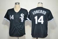 New Chicago White Sox #14 Paul Konerko Black Baseball Jerseys Embroidery logos Free Shipping