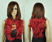 Cos Harajuku brown /red mix long curly cosplay wig + gift