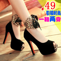 2012 spring open toe high-heeled thin heels shoes princess bow platform sandals wedding shoes