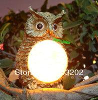 Solar owl light used in garden