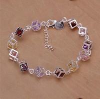 YB165   Free Shipping Wholesale lots 925 silver Fashion Jewelry Chain Bracelets,  Silver 925 Color Stone Bracelets
