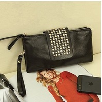 Korean Style PU Leather fashion Handbag designer Rivet Lady wallet Clutch Purse Evening Bag DHL free shipping 100pcs/lot