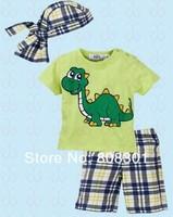 2013 summer boy suit (jacket + pants + scarf hat) baby suit boy suit -Cute green dinosaur