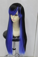 Cos black &blue long straight cosplay wig +gift